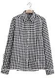 (ザデイアンドスノウ) TheDay&Snow チェック ネル シャツ 綿 コットン 大きい サイズ 長袖 ブラウス レディース (M, 白 × 黒(B02))