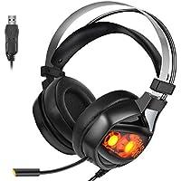 ps4ゲーミングヘッドセット USB ゲームヘッドセット ヘッドフォン マイク付き 4つスピーカー LEDライト 7.1サラウンドサウンド 重低音 騒音抑制 fps xbox one Switch モンハン スカイプ プレイステーション4 などに対応(ブラック)