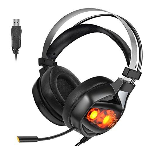 ps4ゲーミングヘッドセット USB ゲームヘッドセット ヘッドフォン マイ...