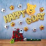 くまのプーさん 誕生日 飾り付け ディズニー キャラクター 可愛い イエロー ゴールド 女の子 男の子 子供 バルーン 風船 happy birthday スターバルーン 12枚セット