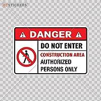 ステッカーデカール安全サインDanger Do Not Enter Constructカラー印刷( 7x 4.6。。。サイズ: 5x 3.3インチビニールカラー印刷