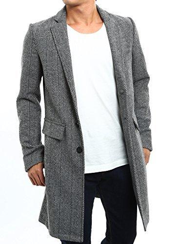 インプローブス コート メルトンウール チェスターコート メンズ Aシングルボタン グレーヘリンボーン Mサイズ