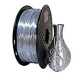 3Dプリンタ Silk PLA フィラメントのシルバー 1.75mm 0.5KG 金属の質感 金属色 3DプリンターフィラメントPLA,銀色(明るい灰色に近い)PLAスフィラメント 無臭 3D印刷フィラメント 1.1LBS(500r)のスプールフィラメント 3Dプリンター 3Dペン 100%バージン原料