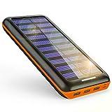 モバイルバッテリー ソーラーチャージャー 24000mAh ソーラー充電器 大容量 電源充電可能 急速充電 2USB入力ポート(2.1A+2.1A) 3USB出力ポート(2.4A+2.4A+2.4A) 災害/旅行/アウトドアに大活躍