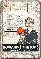 ハワードジョンソンの有名なアイスクリーム 注意看板メタル金属板レトロブリキ家の装飾プラーク警告サイン安全標識デザイン贈り物