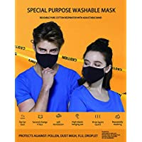 3 Layer Cotton Black Mask Washable, Breathable, Lightweight & Reusable Cover For Adult, Men & Women, Flexible Fit dust Protector, Comfortable & Easy Wear (4)