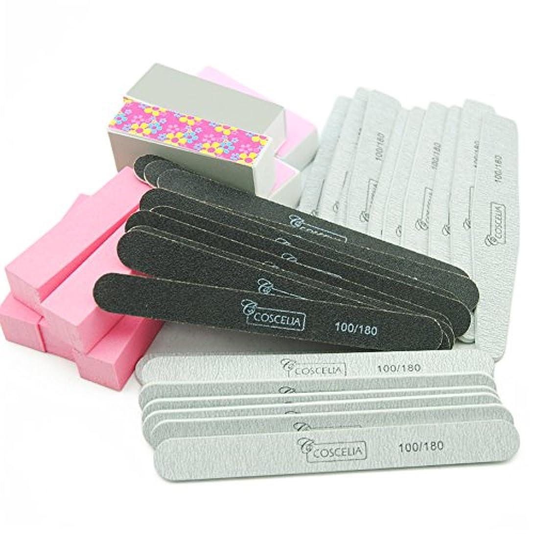 電化する敬な教えTwinkle Store 40pcのネイルツール ネイル 爪やすり サンディングファイルセット バッファブロック ネイルの長さと形を整えるのに便利 ネイルツールキット