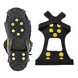 Cisixin靴底用滑り止めスパイク(予備ピン+3個付き)滑らない 携帯 靴用ゴム底 かんじき アイゼン スノー アイススパイク M23.5cm-26.0cm