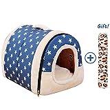 犬猫ハウス/ベッド、ペット柔らかい暖かい室内のドーム型小屋、洗える 折り畳み式旅行の寝床、中小型犬・猫用 (M:45cmx35cmx35cm, ブルー)