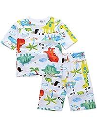 (トップシン) Topshim パジャマ キッズ 子供 男の子 七分丈 恐竜パジャマ Tシャツ 半ズボン ルームウェア ナイトウェア 部屋着 寝間着 寝巻き 恐竜柄 ボーイズ 男児 可愛い 春 夏 上下セット 90-140cm