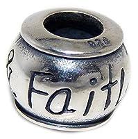 """ソリッド925スターリングシルバー"""" Faith & Love Barrel」チャームビーズ"""
