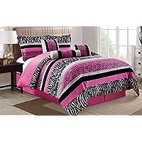 [グランド リネン]Grand Linen 7 Piece Oversize HOT PINK Black White Zebra Leopard Micro Fur Comforter Set California [並行輸入品]