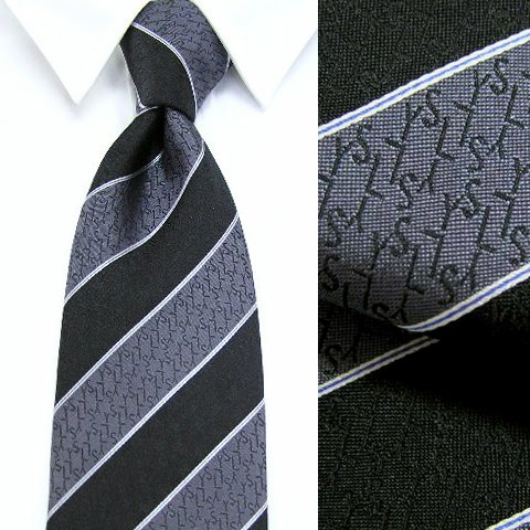 イヴ サンローラン Yves Saint Laurent メンズ ネクタイ YSL131 6 ブラック グレー レジメンタルストライプ 2016-17定番モデル [並行輸入品]