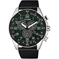 Citizen Men's Solar Powered Wrist Watch analog Display and Leather Strap, AT2441-08X
