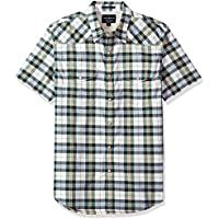 Lucky Brand Men's Short Sleeve Plaid Western Button Down Shirt in Green Multi