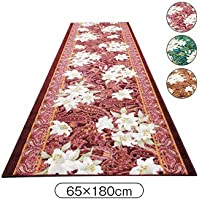 廊下カーペット 抗菌 防臭 ゆり柄 廊下敷 (65cm×180cm) 色/ブラウン系