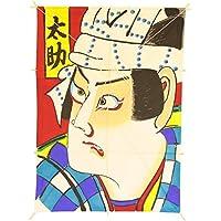 インテリア 手描き【和凧】角小凧 縦47×横33cm【ワ-7ロ】歌舞伎絵 太助