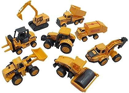 ZERONOWA 建設車両 作業車両 はたらく車 おもちゃ ミニカー 5台 セット (イエロー5台セット)