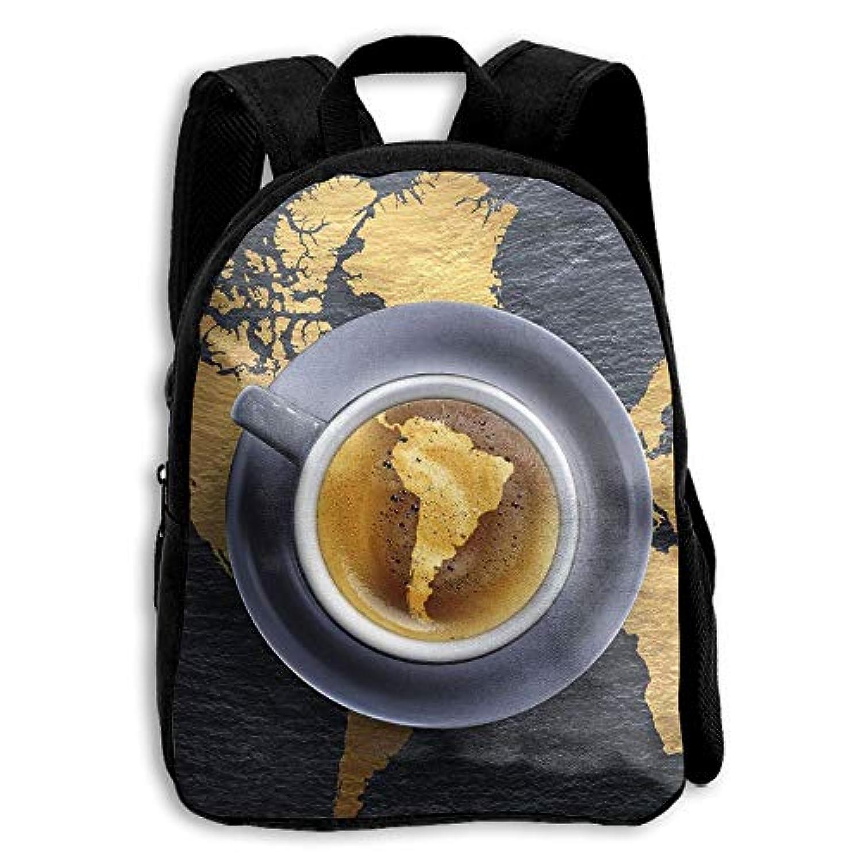 キッズ バックパック 子供用 リュックサック コーヒー 地図 ショルダー デイパック アウトドア 男の子 女の子 通学 旅行 遠足