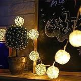 イルミネーションライト ストリングライト クリスマス パーティー 結婚式 誕生日 飾りライト ボール型 電池式 電飾 室内室外 防水 電球色 LED 5m 電球数40