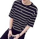 ソーロ トゥ ボーダー カットソー tシャツ ストライプ 厚手 ゆったり デザイン 大きいサイズ トップス 黒 ブラック くろ 服 メンズ 紳士 カジュアル 私服 ストリート 黒っぽい服 ファッション (7.5XL(日本の4XL相当), ブラック)