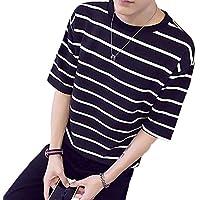 [ソーロ トゥ] ボーダー Tシャツ カットソー ビッグシルエット 半袖 五分袖 良質素材 M 〜 5XL サイズ