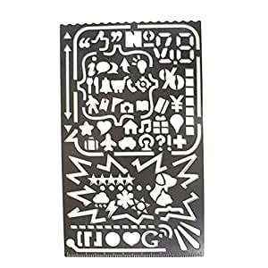 A.B Crew Multifunctional Stainless Steel Portable 60 Apertures Diary Drawing Number Alphabet Icon Stencil DIY Photo Album Tool by A.B Crew