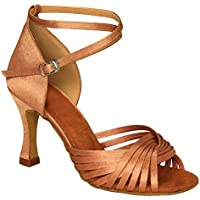 KAI-ROAD Ballroom Dance Shoes Women 3 inch Flared Heel Latin Dress Shoes Salsa Wedding Shoes, Brown