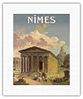 ニーム、フランス - メゾンカレローマの神殿 - PLM鉄道 - ビンテージな鉄道旅行のポスター によって作成された c.1920 - キャンバスアート - 28cm x 36cm キャンバスアート(ロール)
