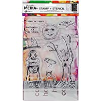 Dina Wakley Media Clear Stamps & Stencil Set-Scribbly Trick Or Treat [並行輸入品]