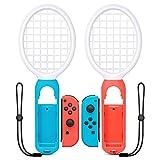 マリオテニス エースに対応テニスラケット UMTELE ラケット型アタッチメント Nintendo Switch Joy-Con用 マリオテニスなどのテニスゲームに対応 落下防止ストラップ付き 軽量ABS製 テニスゲームの臨場感 2点セット (ブルー·レッド)