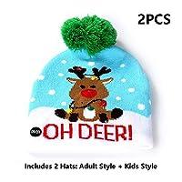 ハット、LEDライト帽子、ボールを持つカラフルなライトとクリスマス親子大人子供ニット帽子、2つの帽子-含むアダルトモデル+キッズモデル,F