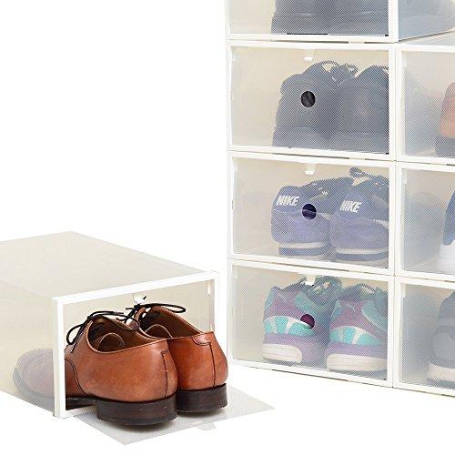 【8箱入り】シューズボックス Lサイズ フレーム付/ホワイト 透明クリアーケース【靴箱/収納】(男性...