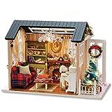 CuteBee 手作りハウスキット、子犬とクリスマス、木製ハウスミニチュア家具キット、LEDライト、オルゴール、クリスマスギフト、プレゼント、インテリア、贈り物(holiday times)