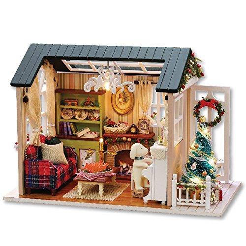 CuteBee 手作りハウスキット、子犬とクリスマス、木製ハ...