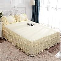 QXJR ベッドカバー,ベッドスカート,レース製,花柄,ストレッチ ベッドスカート,いベッドスカート シングル,単色,シワ,ラップアラウンドスタイル,寝具-Q-200×220Cmベッドスカート