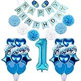 ベビーシャワー 初めての誕生日 ラテックス & ホイルバルーンセット Happy 1st Birthday バナー フラッグ キラキラ リトルスター パーティー デコレーション 音符 サイン サプライ