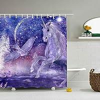浴室カーテン バスカーテン お風呂 シャワーカーテン ユニットバス バスタブ 防水防カビ 軽量 布製 リング付属 取付簡単Crystal Blue Purple Unicorns