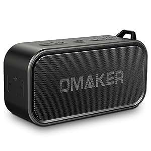 Omaker M6 Bluetoothスピーカー 防水 TWS機能対応 7W低音強化 20m通信距離ワイヤレススピーカー (デュアルドライバー/12時間連続再生/マイク/通話可能/アウトドア/お風呂/カナビラとストラップ付き)ブラック
