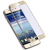 Oudu Galaxy S6 edge ガラスフィルム Samsung S6 edgeフィルム au SCV31 / docomo SC-04G 保護フィルム 強化 気泡ゼロ 0.3mm硬度9H ギャラクシー S6 エッジ フィルム 飛散防止 指紋防止 高感度タッチ 耐衝撃 Samsung Galaxy S6 edge 液晶保護フィルム-ゴールド