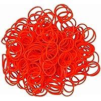 ETHAHE 600pcs赤いラテックスを含まないルームバンド補充輪ゴムパックブレスレットC -クリップ24個