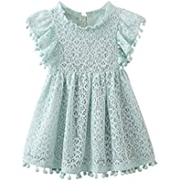 Weixinbuy Kid Baby Girl's Summer A-line Dress Hollow Tassel Lace Party Dresses