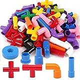 【ベビーアムール】Bebamour 知育玩具 72pcsパイプブロック おもちゃ 積み木 カラフルな組み立てセット 収納できる ごきげん玩具 創造力と達成感を育てる