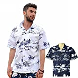 NEW アロハシャツ 半袖シャツ 大きいサイズ メンズ ネイビー XL