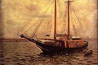 手描き-キャンバスの油絵 - The Lumber 船 naturalistic シービューペインティング RSSP2 Thomas Pollock Anshutz 芸術 作品 洋画 ウォールアートデコレーション -サイズ18