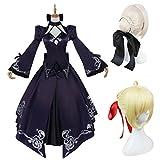 コスプレ衣装+ウイッグ Fate/Grand Order フェイトグランドオーダー 黒セイバー コスプレ衣装 saber FGO コスプレ コスチューム (S, Aセット)