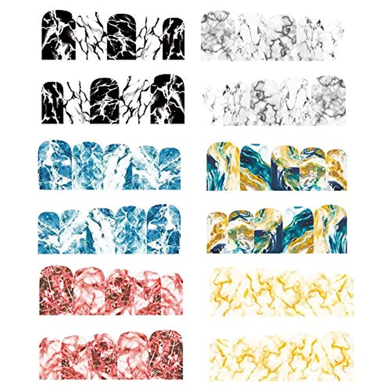 散髪展示会分類するネイルステッカー DIY 3Dネイルシール ネイルパーツ 大理石 ネイルシール デコ ウォーターシールネイルアートシール ステッカー 貼り紙 綺麗 6ピース
