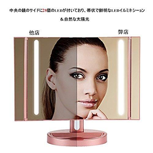 LEEPWEI 化粧鏡 女優ミラー 鏡 卓上 LED三面鏡 折りたたみ式 10倍拡大鏡付き 明るさ調節可能 180度回転 USB/単三電池給電 アンティーク プレゼント(ローズ金)