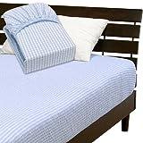 メーカー直販 先染めサッカーボックスシーツ 綿100% 表面の凸凹が肌に爽やか涼感感触 シングル 100×200×30cm ブルー