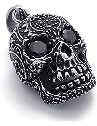 [テメゴ ジュエリー]TEMEGO Jewelry メンズキュービックジルコニアステンレススチールヴィンテージペンダントゴシック鋳物スカルネックレス、ブラックシルバー[インポート]